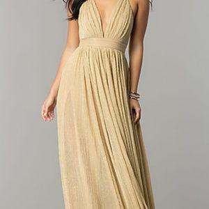78f1a343aa57 Simply Dresses Dresses - Deep V-neck Metallic Crepe Prom Dress